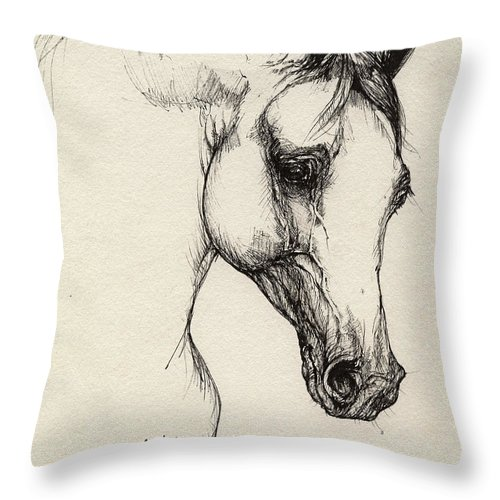 Horse Throw Pillow featuring the drawing Arabian Horse Drawing 32 by Angel Ciesniarska