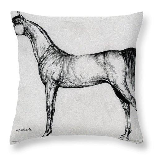 Arab Throw Pillow featuring the drawing Arabian Horse Drawing 34 by Angel Ciesniarska