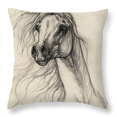 Horse Throw Pillow featuring the drawing Arabian Horse Drawing 37 by Angel Ciesniarska