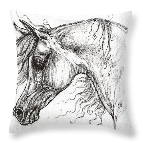Horse Throw Pillow featuring the drawing Arabian Horse Drawing 53 by Angel Ciesniarska