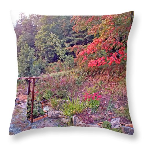 Duane Mccullough Throw Pillow featuring the photograph Arbor And Fall Colors by Duane McCullough
