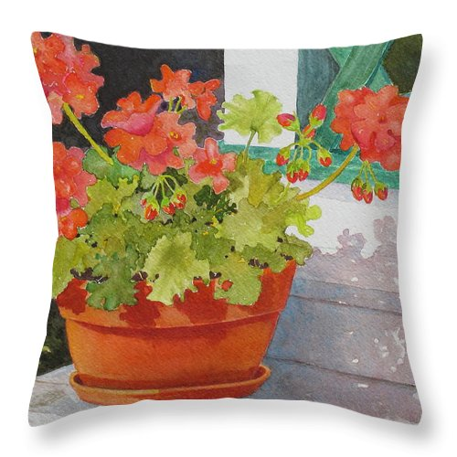 Flowers Throw Pillow featuring the painting Arbor Gallery Steps by Mary Ellen Mueller Legault