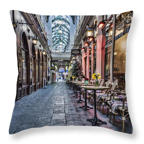 Castle Arcade Cardiff Throw Pillow featuring the photograph Arcade Cafe by Steve Purnell
