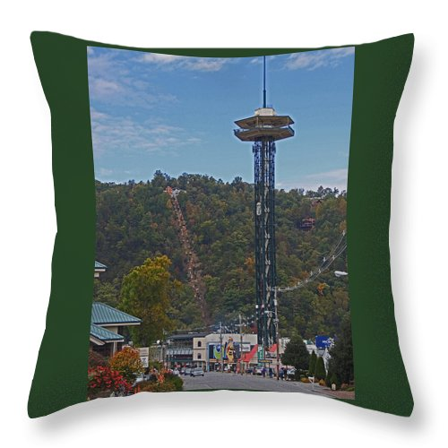 Photographic Print Throw Pillow featuring the photograph Arcadia Space Needle In Gatlinburg Tennessee by Marian Bell