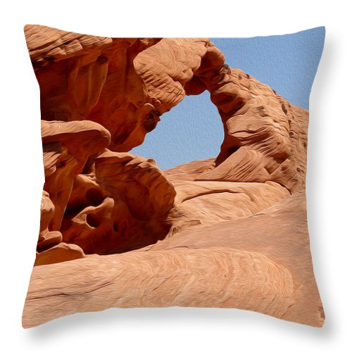 Arch At Valley Of Fire State Park Throw Pillow featuring the photograph Arch At Valley Of Fire State Park by Tracy Winter