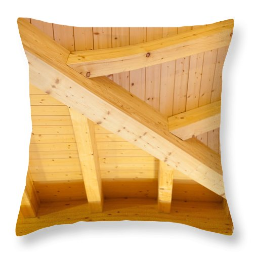Angled Throw Pillow featuring the photograph Architectural Detail Of An Indoor Wooden Ceiling by Stephan Pietzko