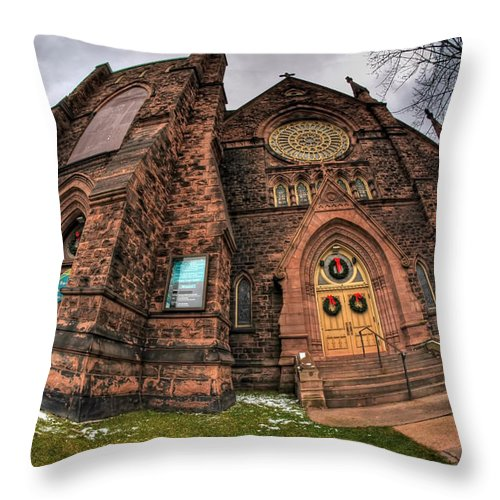 Architecture Throw Pillow featuring the photograph Architecture And Places In The Q.c. Series 03 Trinity Episcopal Church by Michael Frank Jr