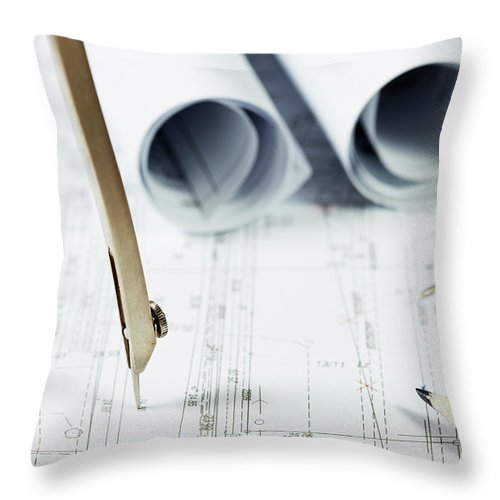 Civil Engineering Throw Pillow featuring the photograph Architecture Planning by Kalasek