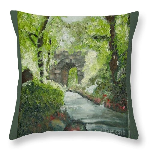 New York Throw Pillow featuring the painting Archway In Central Park by Laurie Morgan