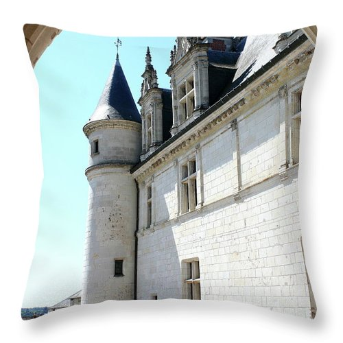 Castle Throw Pillow featuring the photograph Archway View Chateau Amboise by Christiane Schulze Art And Photography