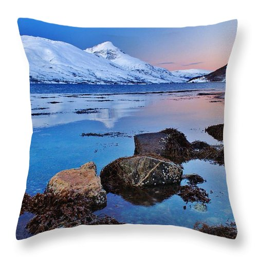 Norway Throw Pillow featuring the photograph Arctic Winter Fjordland Twilight by David Broome