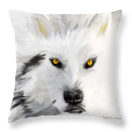 Wolf Throw Pillow featuring the painting Arctic Wolf With Yellow Eyes by Angela Stanton