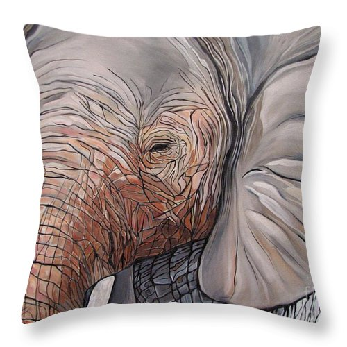 Elephant Bull Painting Throw Pillow featuring the painting Are You There by Aimee Vance