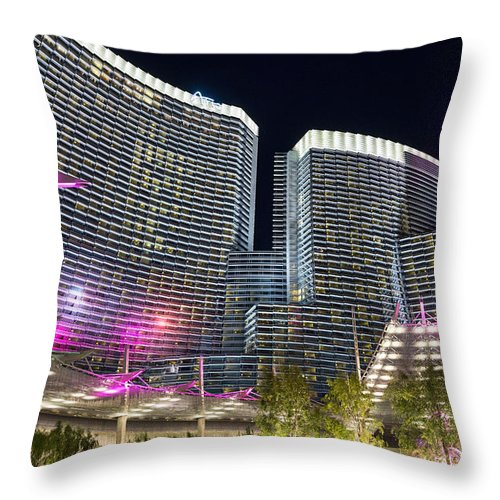 Aria Resort Throw Pillow featuring the photograph Aria Light - Aria Resort And Casino At Citycenter In Las Vegas by Jamie Pham