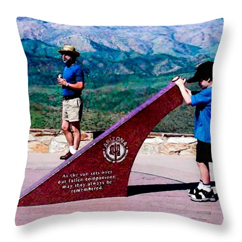 Arizona Throw Pillow featuring the photograph Arizona Highway Patrol Memorial by Bob and Nadine Johnston