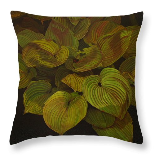Plants Throw Pillow featuring the painting Arkansas Green by Thu Nguyen