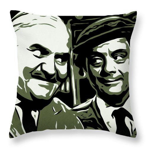 Ronnie Barker Sir David Jason Open All Hours Arkwright Granville Comedy Bbc Sitcom Pop Art Black And White Monochrome Portrait Throw Pillow featuring the painting Arkwright And Granville by Ian King