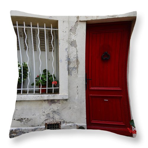 Red Throw Pillow featuring the photograph Arles House With Red Door Dsc01806 by Greg Kluempers