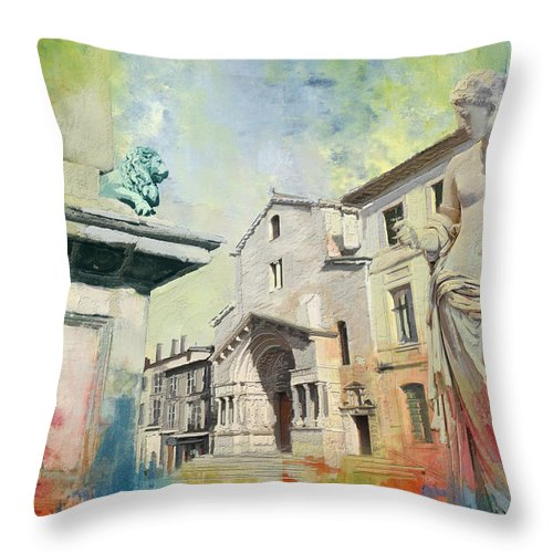 Western Ghats Throw Pillow featuring the painting Arles Roman And Romanesque Monuments by Catf