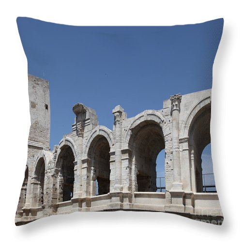 France Throw Pillow featuring the photograph Arles Roman Arena by Ros Drinkwater