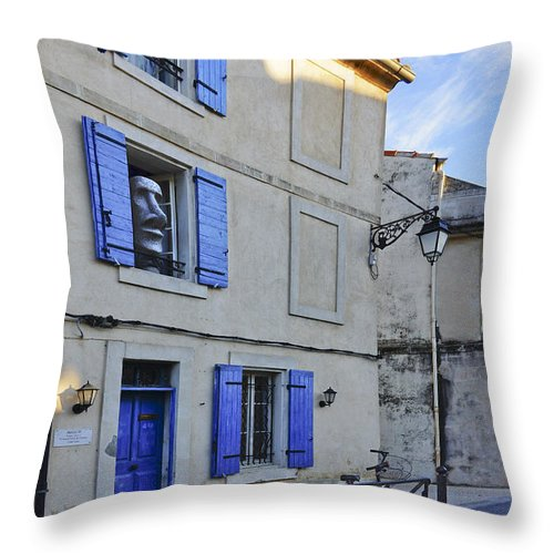 Arles Throw Pillow featuring the photograph Arles With Bicycle And Moai Dsc01802  by Greg Kluempers