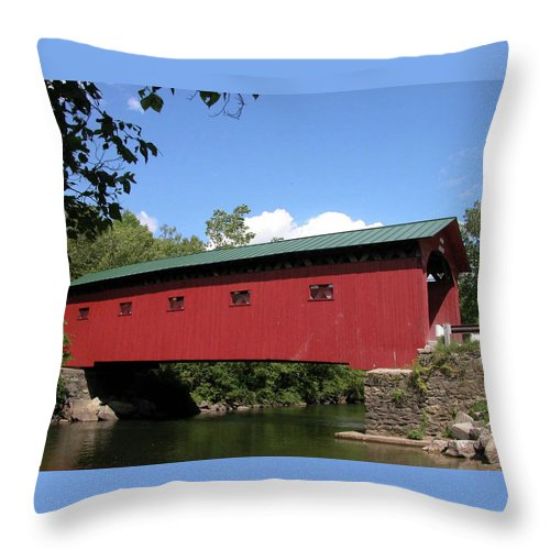 Covered Bridge Throw Pillow featuring the photograph Arlington Bridge 2526a by Guy Whiteley
