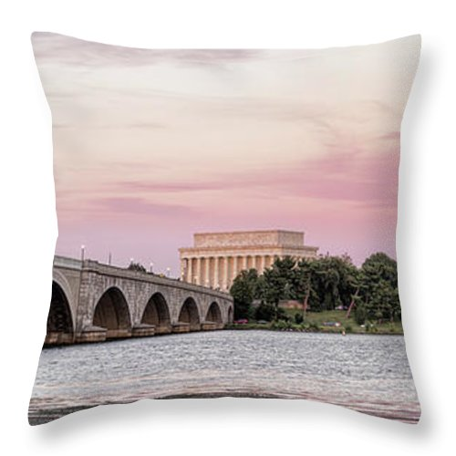 Photography Throw Pillow featuring the photograph Arlington Memorial Bridge With Lincoln by Panoramic Images