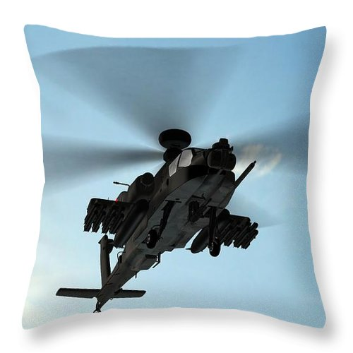 Wind Throw Pillow featuring the photograph Armed Longbow Apache Helicopter In by Bestgreenscreen