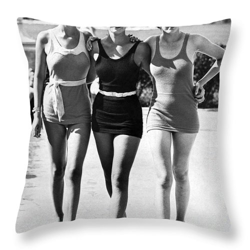 1930s Throw Pillow featuring the photograph Army Bathing Suit Trio by Underwood Archives