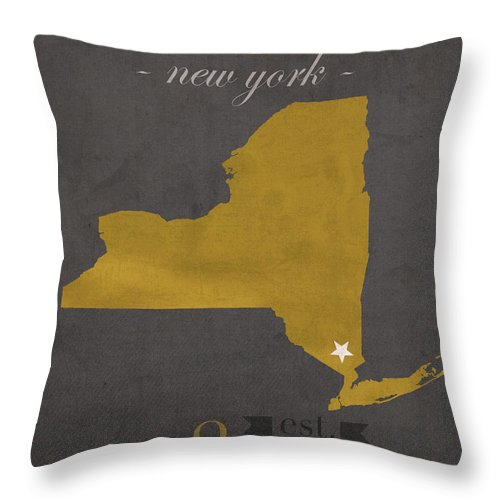Army Black Knights Throw Pillow featuring the mixed media Army Black Knights West Point New York Usma College Town State Map Poster Series No 015 by Design Turnpike