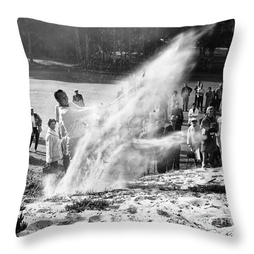Bing Crosby Throw Pillow featuring the photograph Arnold Palmer At Pebble Beach California Rey Ruppel Photo Circa 1955 by California Views Archives Mr Pat Hathaway Archives
