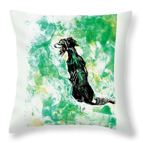 Saluki Throw Pillow featuring the mixed media Around The Bend by Cori Solomon
