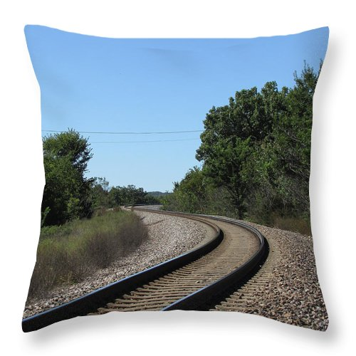 Train Tracks Throw Pillow featuring the photograph Around The Bend by Jamie Smith
