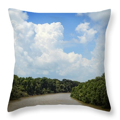 Mississippi River Throw Pillow featuring the photograph Around The Bend by Maggy Marsh