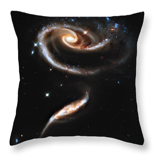 Arp Throw Pillow featuring the photograph Arp 273 Rose Galaxies by Ricky Barnard