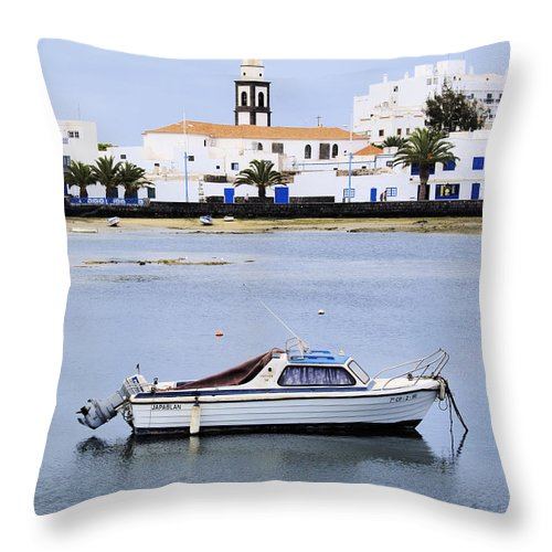 Boat Throw Pillow featuring the photograph Arrecife On Lanzarote by Karol Kozlowski