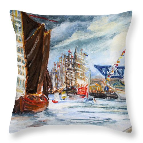 Boat Throw Pillow featuring the drawing Arrival At The Hanse Sail Rostock by Barbara Pommerenke