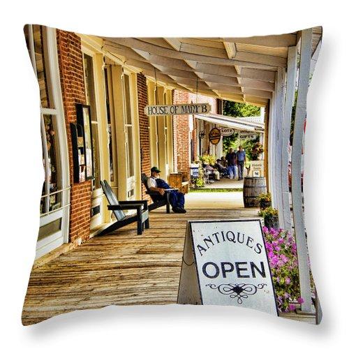 Arrow Throw Pillow featuring the photograph Arrow Rock - Boardwalk Shops by Cricket Hackmann