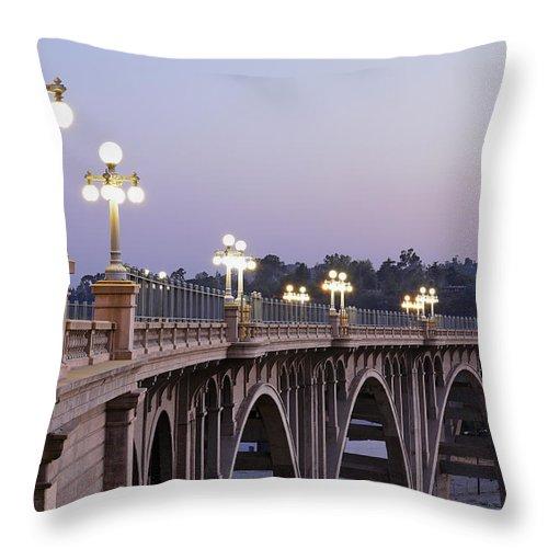 Arch Throw Pillow featuring the photograph Arroyo Seco Bridge Pasadena by S. Greg Panosian