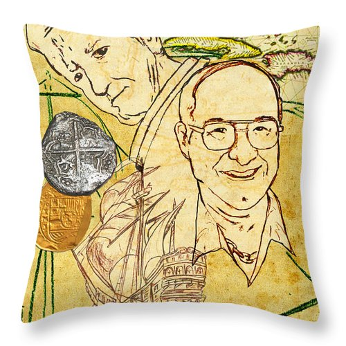 Art Mckee Throw Pillow featuring the drawing Art And Mel The Treasure Hunters by William Depaula
