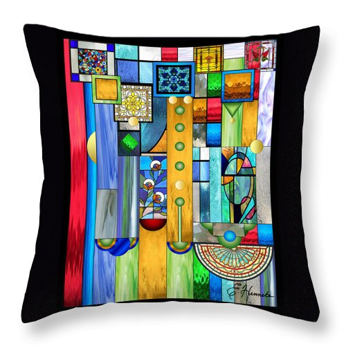 Art Deco Stained Glass Throw Pillow featuring the mixed media Art Deco Stained Glass 1 by Ellen Henneke