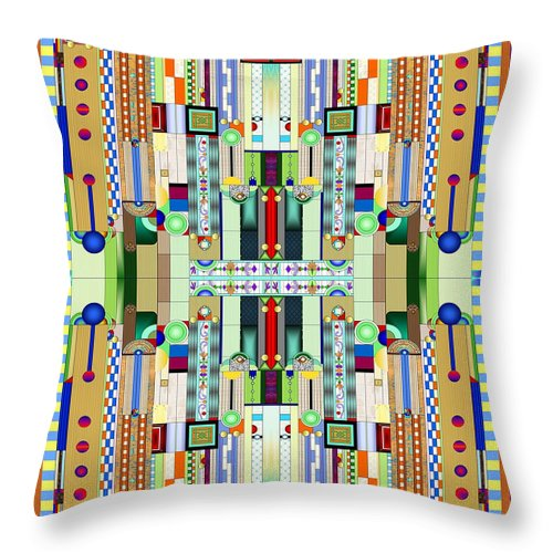Art Deco Stained Glass Throw Pillow featuring the digital art Art Deco Stained Glass 2 by Ellen Henneke