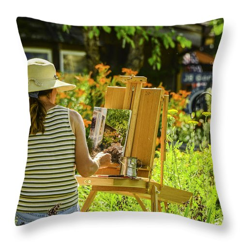 Activity Throw Pillow featuring the photograph Art In The Garden by Mary Carol Story