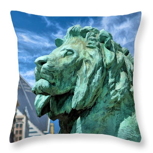 Art Institute In Chicago Lion Throw Pillow For Sale By Christopher Arndt