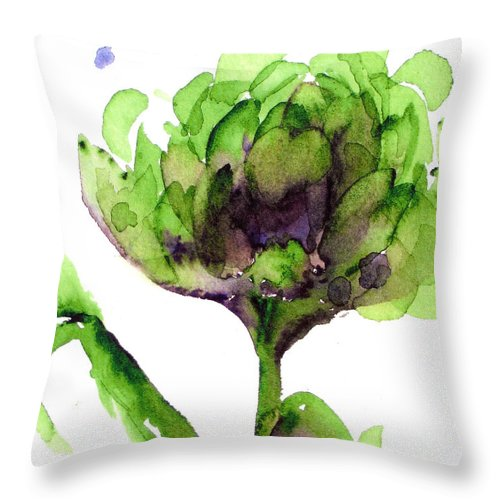 Artichoke Throw Pillow featuring the painting Artichoke by Dawn Derman