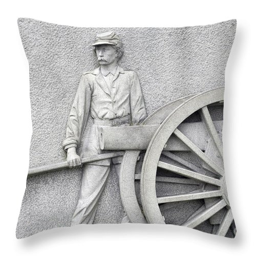 Gettysburg Throw Pillow featuring the photograph Artillery Detail On Monument by Paul W Faust - Impressions of Light