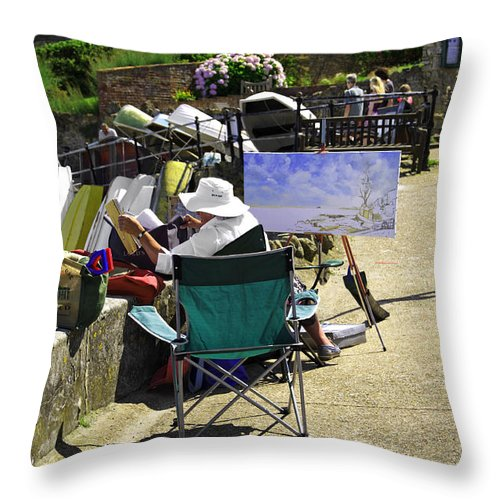 Bright Throw Pillow featuring the photograph Artist At Work In Seaview - Isle Of Wight by Rod Johnson