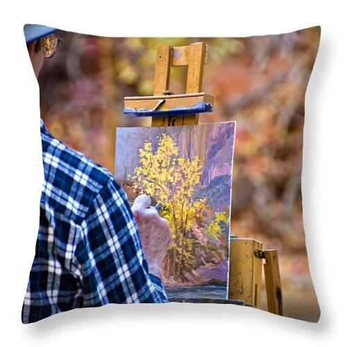 Zion National Park Throw Pillow featuring the photograph Artist At Work - Zion by Jon Berghoff