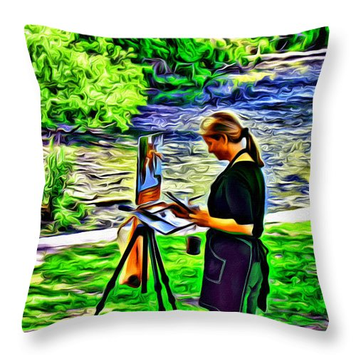 Artist Waterworks Boathouse Row Watercolors Alicegipsonphotographs Throw Pillow featuring the photograph Artist Color by Alice Gipson