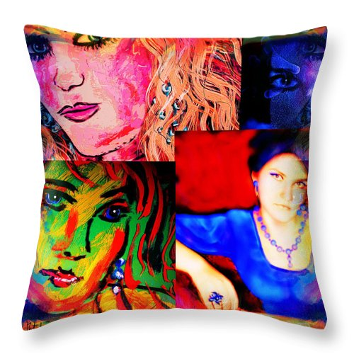 Portrait Throw Pillow featuring the painting Artist Self Portrait by Natalie Holland